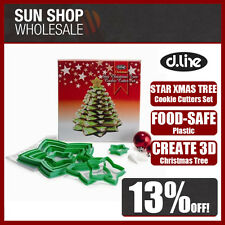 100% Genuine! D.LINE Christmas Star 3D Xmas Tree Cookie Cutter Set Green!
