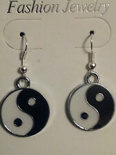 PAIRS YIN YANG EARRING CHINESE BLACK AND WHITE TRIBAL FENG SHUI