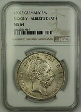 1902E Germany Saxony Albert's Death 5M Five Marks Silver Coin NGC MS-64