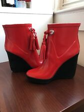 COACH Bina Q1571 Shiny Red Rubber Rainboots Platform Wedge Tassel 6 RARE!