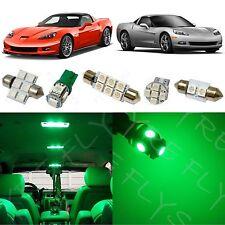 9x Green LED lights interior package kit for 2005-2013 Chevy Corvette CC5G