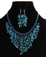 "Crystal Artisan Glass Bead Blue 18"" Falls Strand Necklace Earrings Set NE110-108"