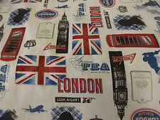 "White ""Look London""  British Print, London Printed 100% Cotton Fabric."
