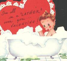 UnUsed Americard Valentine Card Old Claw Foot Bathtub   I'm All A LATHER!!