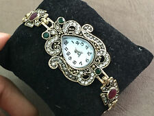 TURKISH VICTORIAN EMERALD & RUBY STONE 925 STERLING SOLID BRASS BRACELET WATCH
