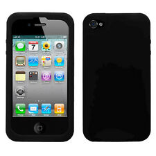 Black Rubber Soft Silicone SKIN Case Phone Cover for Apple iPhone 4 4S