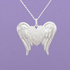 "925 Sterling Silver ""Angel Wings with Heart"" 18""/20"" Pendant A869"