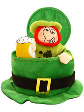 Fancy Dress St Patricks Irish Ireland Eire Top Hat Green With Leprechaun Man