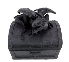 Black Dragon Treasure Chest Gothic Trinket Box Jewelry Stash Box Statue