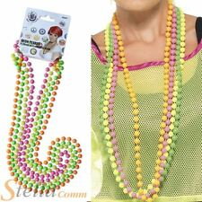 80s Fluorescent UV Fancy Dress Beads Neon Disco Accessory 4 Strand Necklace
