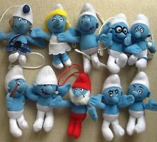 Mcdonalds THE SMURFS Full Set of 10 soft toys Great As Christmas Tree Decoration