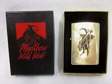Rare Marlboro Bronco Zippo Wild West w/Box Unused Brass Lighter Tobacco Engraved