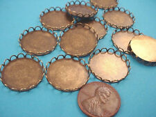 Brass Ox Round Lace Edge Bezel Cups 20mm - 8 Pieces