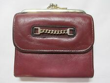 Vintage Red Princess Gardner Leather Bifold Wallet & Kiss Lock Coin Pouch Combo