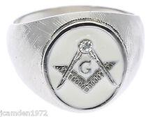 Masonic Men's ring White enamel 316L Stainless steel size 9