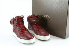 MEN'S GUCCI LEATHER HIGH TOP SNEAKERS – STRONG RED/MAROON SIZE 5.5