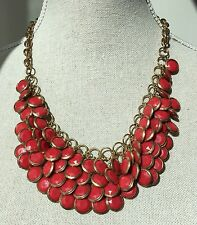 Red Shingle Collar Statement Necklace Jewelry Bag