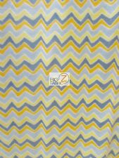 CHEVRON ZIG ZAG PRINT POLAR FLEECE FABRIC - Gray/Yellow/Dark Yellow -  BTY 902