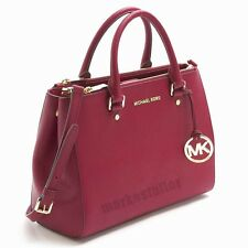 Auth Michael Kors Womens Savannah Small Saffiano Leather Satchel Bag Red