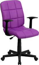 Flash Furniture Mid-Back Purple Quilted Vinyl Swivel Task Chair with Nylon Arms