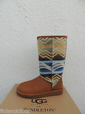 UGG CLASSIC TALL PENDLETON CHESTNUT LEATHER SHEEPSKIN BOOTS, US 8/ EUR 39 ~ NIB