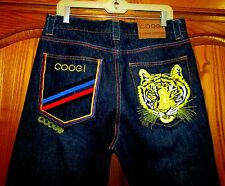 """NEW MEN'S AUTHENTIC COOGI BOOT CUT JEANS/EMBROIDERED TIGER SZ 32 ACTUAL SZ 33"""""""