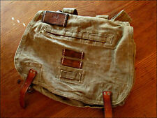 VINTAGE MILITARY CANVAS LEATHER SHOULDER MESSENGER AMMO BOOK BAG POUCH TOTE PACK