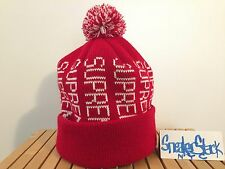 2009 Vintage Supreme New York Red White Logo Poof Beanie Acrylic Knit Wool Hat