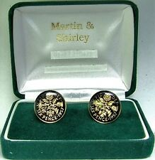 1957 6D cufflinks from real coins in Black & Gold