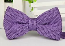 Men's Fashion Double Layer Solid Bowtie Knit Knitted Pre Tied Bow Tie Woven