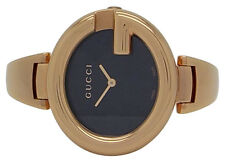 Gucci YA134509 Ladies Rose Gold Stainless Steel Guccissima Black Dial 36mm Watch