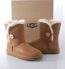 UGG Australia Bailey Button II Sheepskin Boots Women's 7 MED 1016226 Chestnut