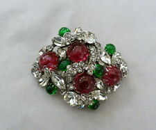 HUGE VINTAGE 60s SIGNED SCAASI FLAWED RUBY EMERALD GLASS CABOCHON RHINESTONE PIN