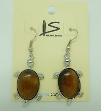 Fashion Earrings -turtle genuine tiger's eye-brown-silver tone-french wire