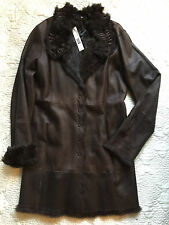 *NWT* ELIE TAHARI Dark Brown Leather & Fur Trimmed/Lined Coat ~ Medium ~ $2,498