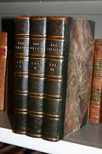 vintage 1837-38 3Vols Set Half Leather DON QUIXOTE DE LA MANCHA  Free Ship