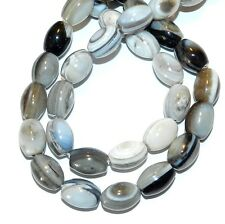 NG2540f Gray Banded Agate 12x10mm-14x12mm Oval Barrel Gemstone Beads 15""