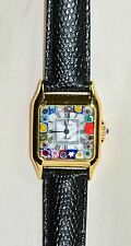 "Genuine ITALIAN MURANO MILLEFIORI GLASS FACE WATCH 7.5"" Black Band Quartz VENICE"