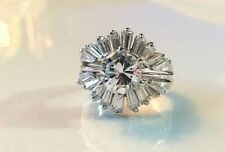 2 Rings! 2.25CT Round CZ Engagement Wedding Ring Guard Set Sterling Silver 6