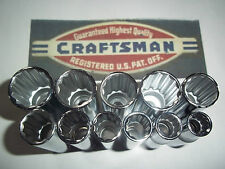 CRAFTSMAN HAND TOOLS 11pc LOT 3/8 DEEP METRIC MM 12pt ratchet wrench socket set