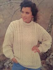 "Knitting Pattern For Lady's Aran Jumper - Sizes 30-40"" Ladies"