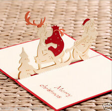 Merry Christmas 3D Santa Claus Pop- up Greeting Card Paper-craft Art, Red