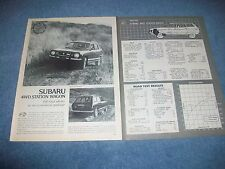"1977 Subaru 4wd Station Wagon Vintage Road Test Info Article ""Off-Road Ability.."