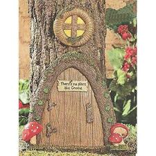 Garden Gnome Home Door in a Tree Art Pieces Outdoor Yard Decor New