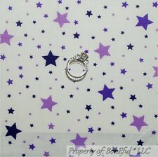 BonEful Fabric FQ Cotton Quilt White Purple STAR Girl Princess Harry Potter Dot