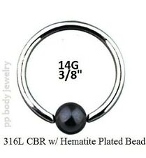 "PAIR 14g~3/8""~10mm 316L Surgical Steel Captive Ring with Hematite Plated Bead"