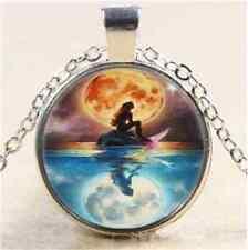 1pcs Vintage Mermaid Cabochon Tibetan Tibet silver Glass Chain Pendant Necklace