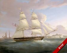 MERCHANT SHIP SAILBOAT OFF COASTS DOVER ENGLAND PAINTING ART REAL CANVAS PRINT