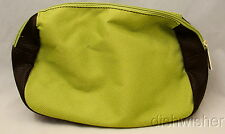 NEW Estee Lauder Green & Brown Faux Leather Travel Makeup Bag Pouch w/ Zipper