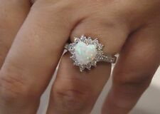 HEART SHAPE RING W/ 2.50 CT LAB ACCENTS/OPAL / SZ 5 - 9 / 925 STERLING SILVER